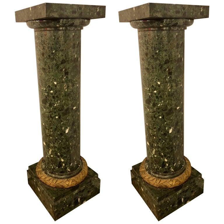 Pair of Louis XVI Monumental Louis XVI Style Green Marble / Malachite Pedestals
