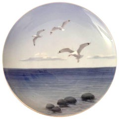 Royal Copenhagen Art Nouveau Wall Plate with Seagulls #1138