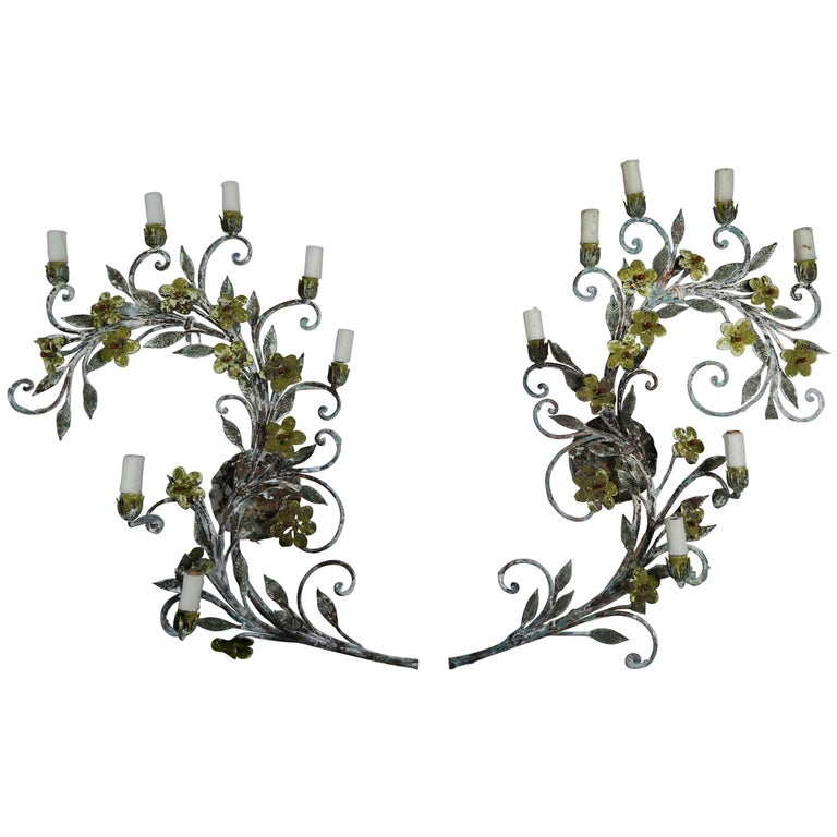 French Painted Wrought Iron Garland Sconces, Pair