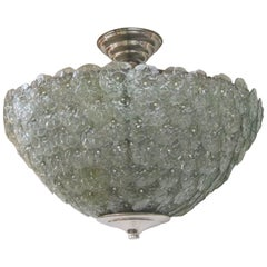 Large Handblown Murano Floral Green Pendant Light