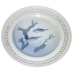 Bing & Grondahl Art Nouveau Pierced Plate with Fish #3112/1-21, 3