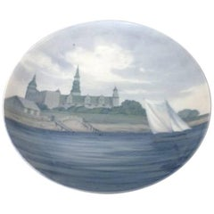 Bing & Grondahl Art Nouveau Wall Plate with Kronborg, Painted by Amalie Schou #4