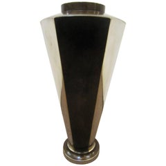 Tall French Bronze and Silvered Six-Sided Angular Vase