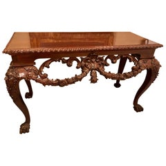 Custom Carved Console Table with Claw Feet and Carved Heads, circa 1940s