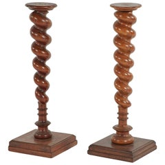 Late 19th Century Pair of French Wooden Turned Stands