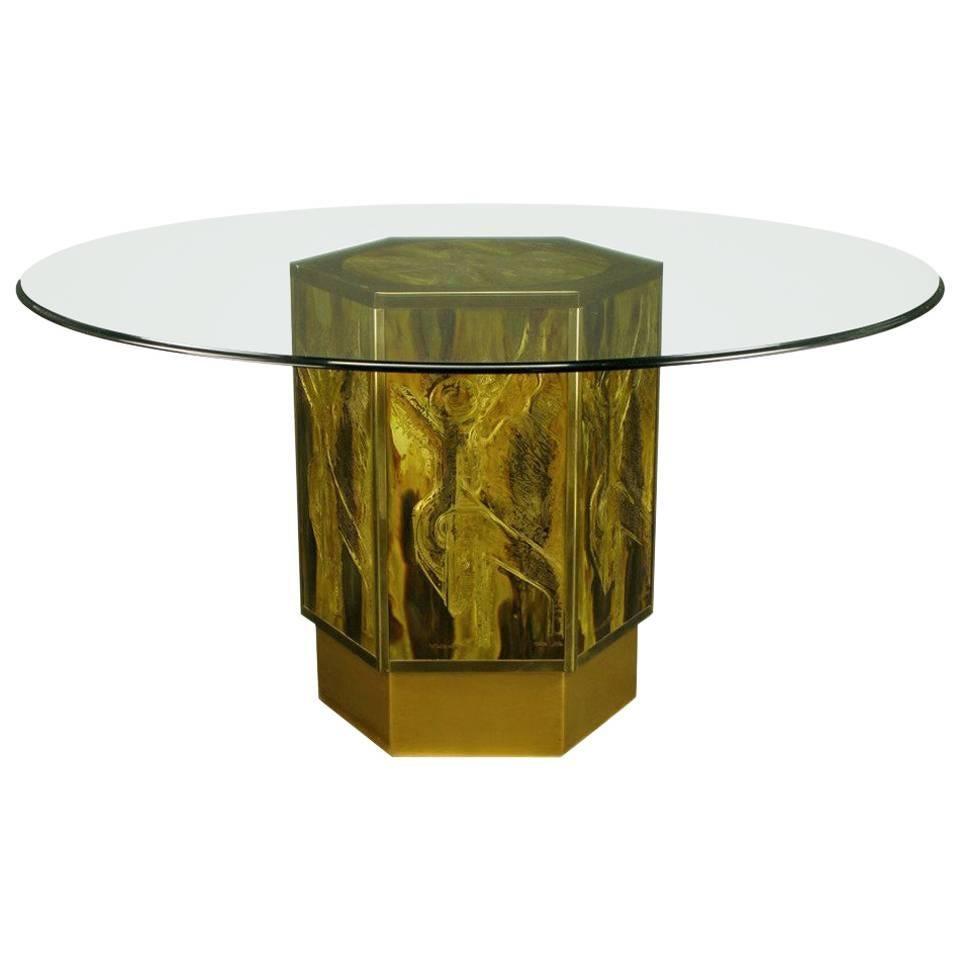 Bernhard Rohne for Mastercraft Acid Etched Brass Hexagonal Pedestal Table