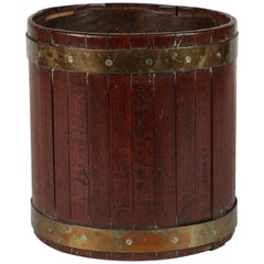 A Late 19th Century Brass Banded Waste Paper Bin in Mahognay