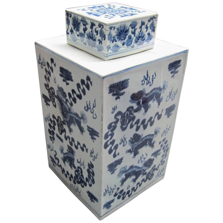 Blue and White Lidded Square Chinese Ceramic Pot For Sale
