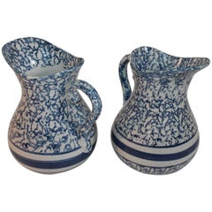 19th Century Sponge Ware Water Pitchers, Pair