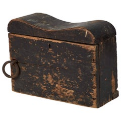 1880s English Black Painted Nautical Box Recovered from Ship