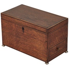 1810s English Georgian Oak Box with Metal Feet