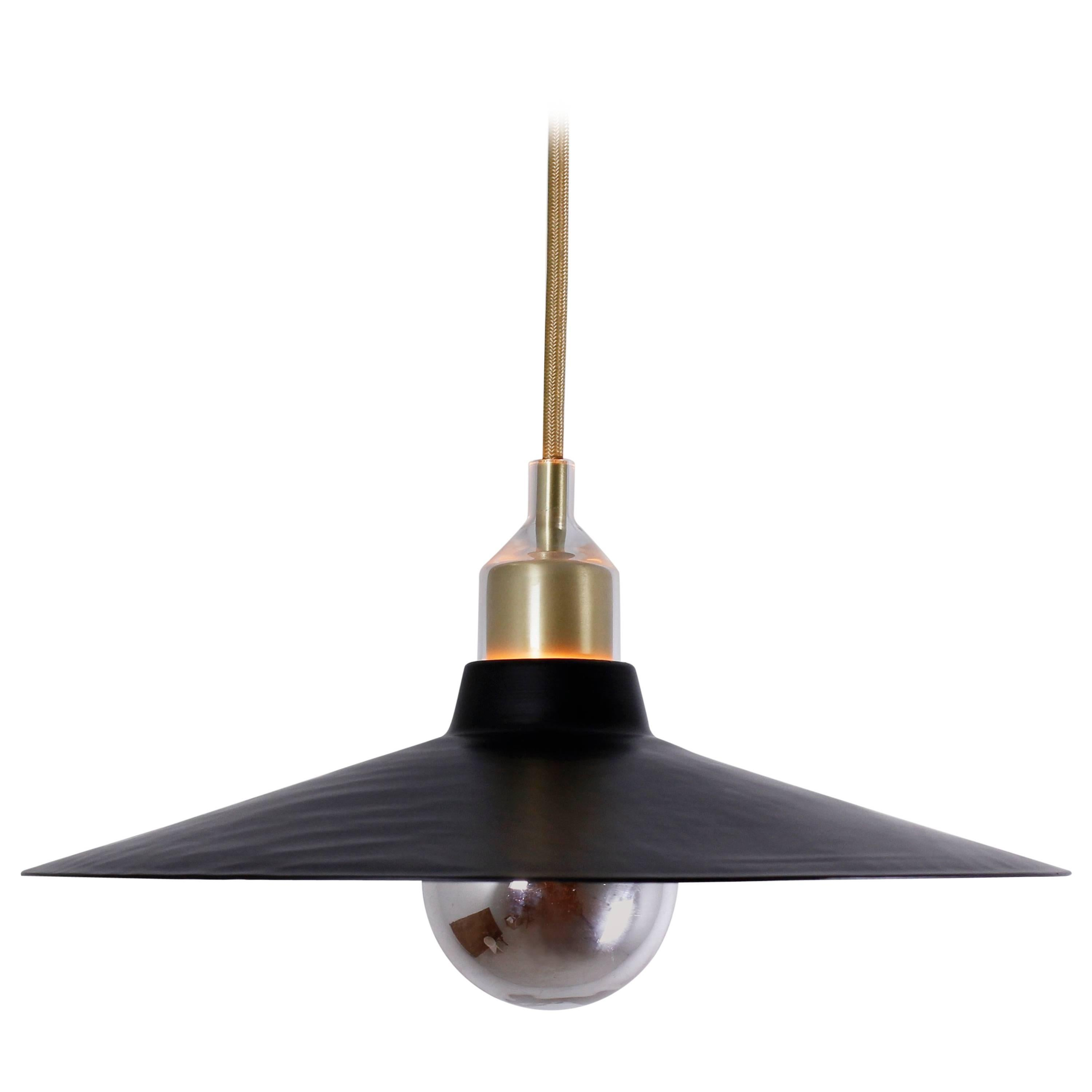 Grain Pendant 13 Black & Brass by Brendan Ravenhill