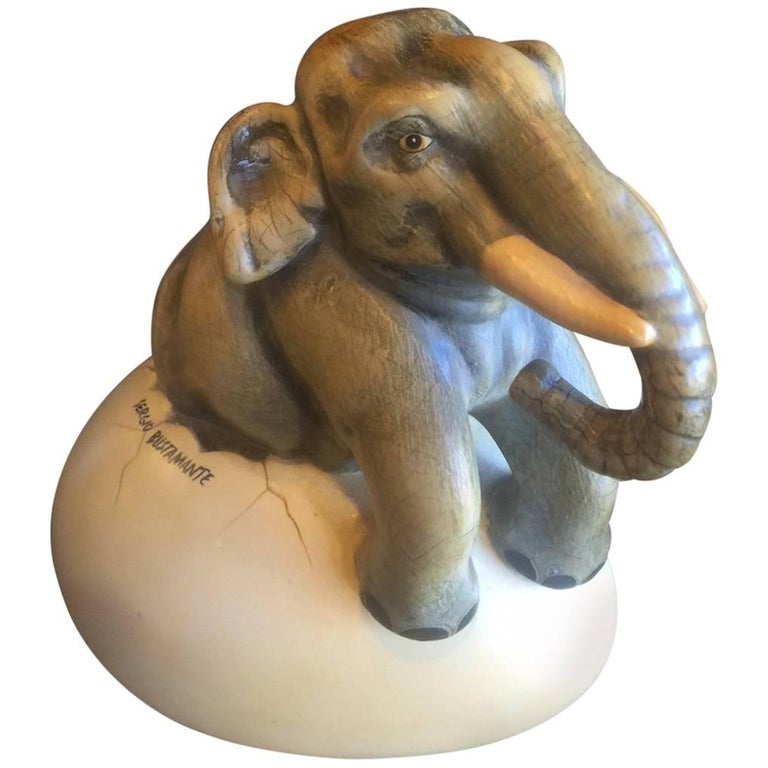 Whimsical Ceramic Hatching Elephant from Egg by Sergio Bustamante For Sale