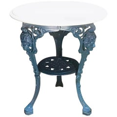 J.W. Fiske Victorian Cast Iron Garden Table, in Palm Beach Blue