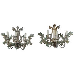 Italian Carved Painted Lyre Shaped Three-Light Sconces, Pair
