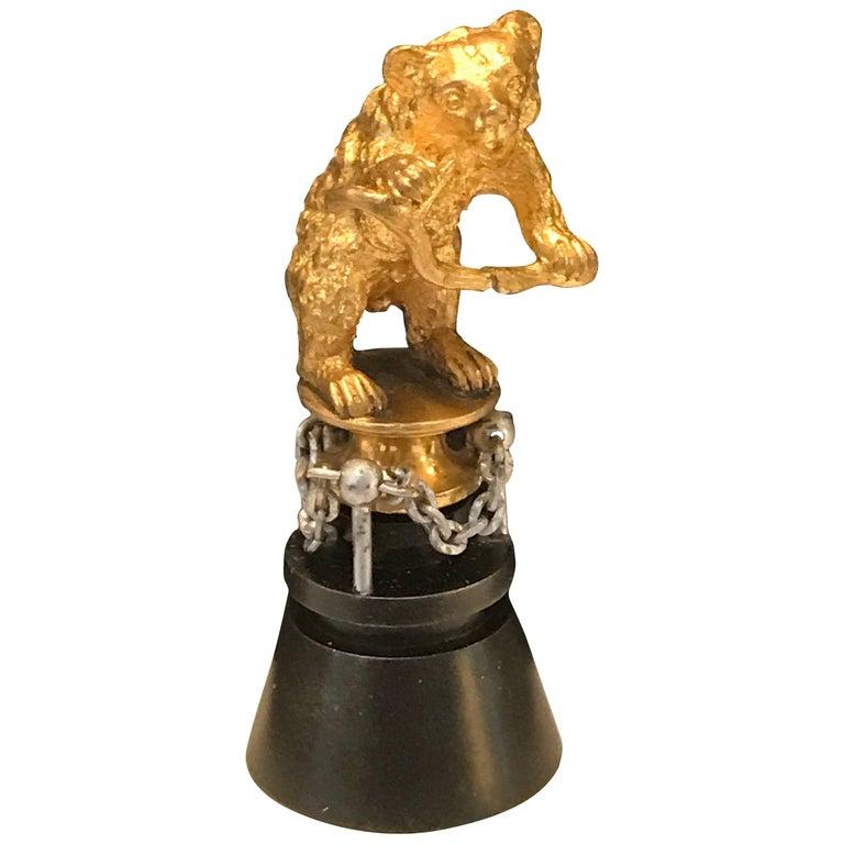 "19th Century Russian Ormolu ""Dancing Bear"" Sculpture For Sale"