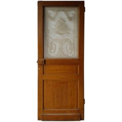 Late 19th Century Dutch Wooden Door with Etched Glass Panel