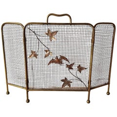 Mid-20th Century Brass Folding Fire Screen with a Bat