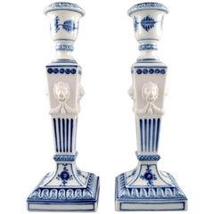 Pair of Royal Copenhagen Blue Fluted Plain, Candlesticks with Lion Heads