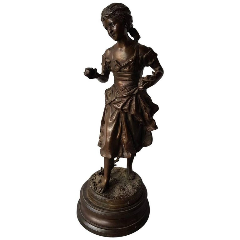 French Bronze Sculpture a Lady with Fruits in Her Hands after E. Rancoulet