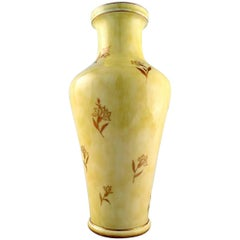Large Sevres Vase in Porcelain with Yellow Glaze