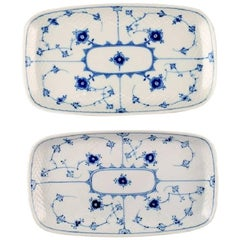 Two Bing & Grondahl, B&G Blue Fluted Rectangular Trays or Dishes