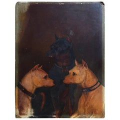 English School Oil on Board Study of Two White and One Manchester Terrier