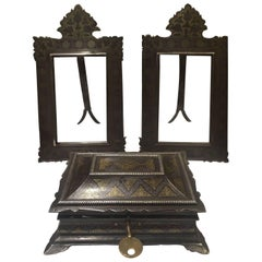 19th Century, Indian Box and Picture Frames, Made from Steel with Gold & Silver