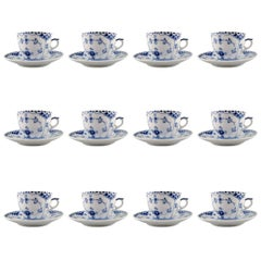 12 Sets Royal Copenhagen Blue Fluted Half Lace Coffee Cup and Saucer