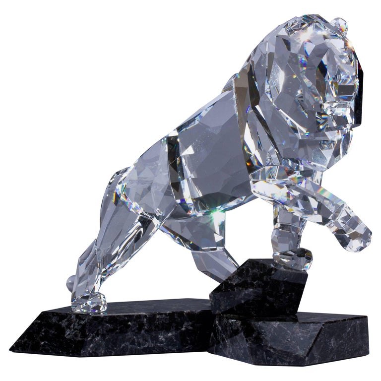 Clear Crystal Swarovski Lion Sculpture with Mahogany Granite Base
