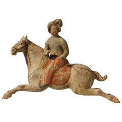 Rare Painted Red Pottery Female Polo Player Astride a Galloping Pony