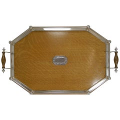 Antique English Oak and Silver Plate Tray, Silver Mount, 1910