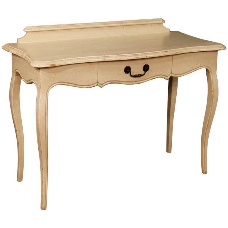 20th Century Iron Base Desk Table With Scagliola Malachite