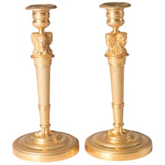 Candlesticks Antique Gilt Bronze Empire France