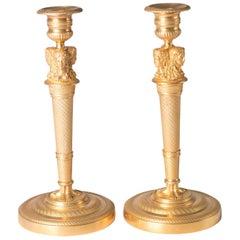 Candlesticks Antique Gilt Bronze Empire France