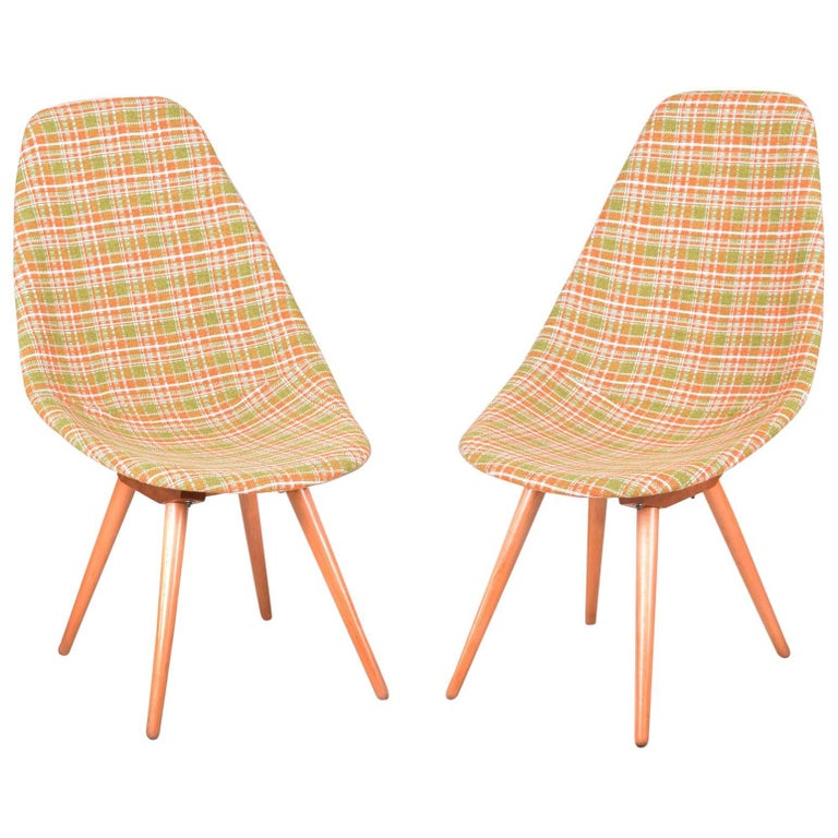 Restored Pair of Czechoslovakia Midcentury Chairs, 1950-1960