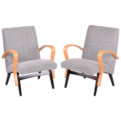 Restored Pair of Czechoslovakia Midcentury Armchairs, 1950-1960