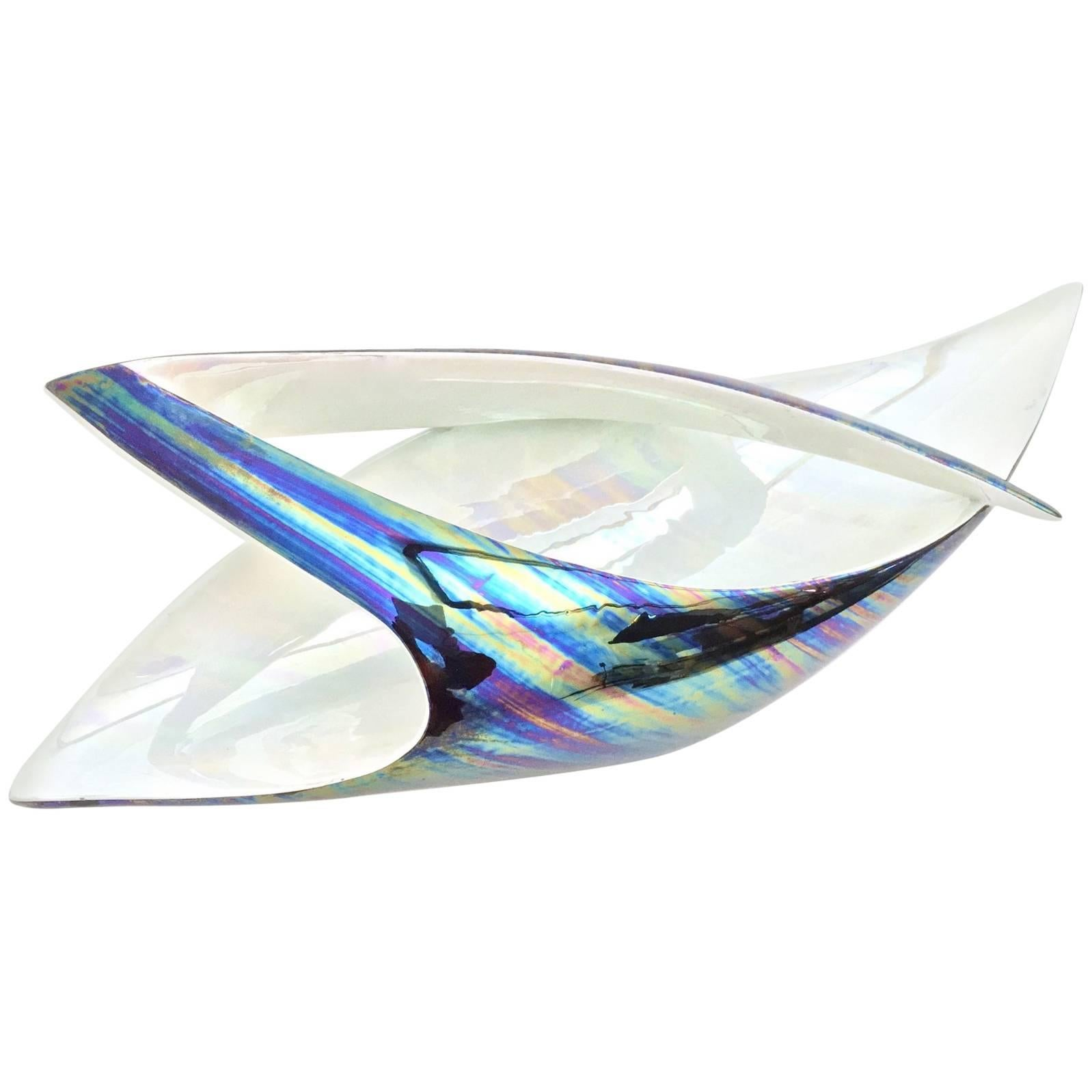 Iridescent Ceramic Bowl or Centerpiece by Lusso, Italy, 1950s