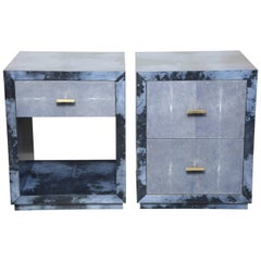 Set of 2 Parchment Nightstands with Genuine Shagreen Drawer Fronts