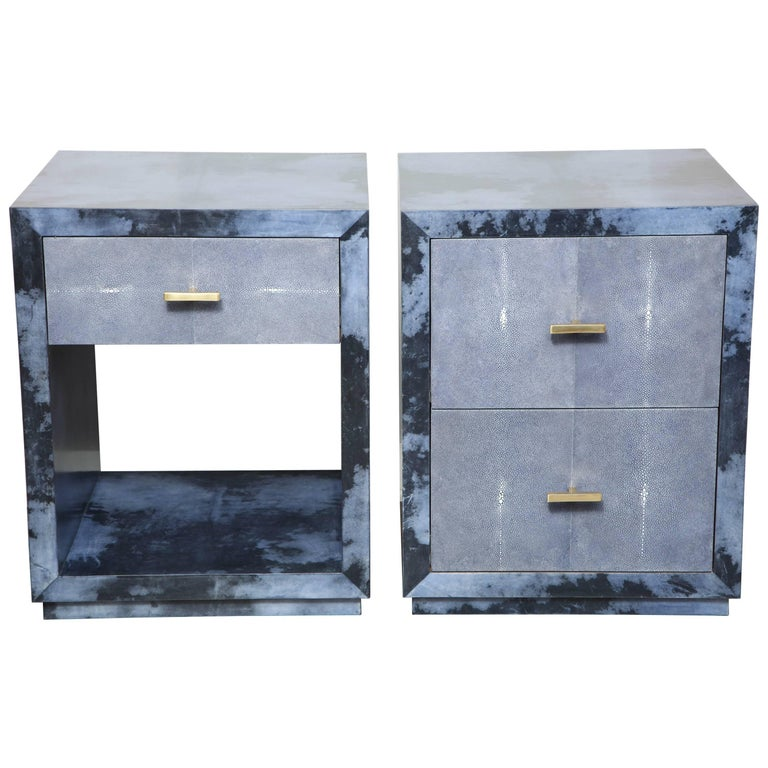 Custom Parchment and Shagreen Nightstands