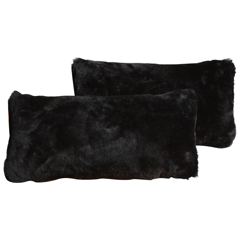 Custom Genuine Black Shearling Lumbar Pillow