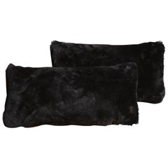Genuine Black Shearling Lumbar Pillow