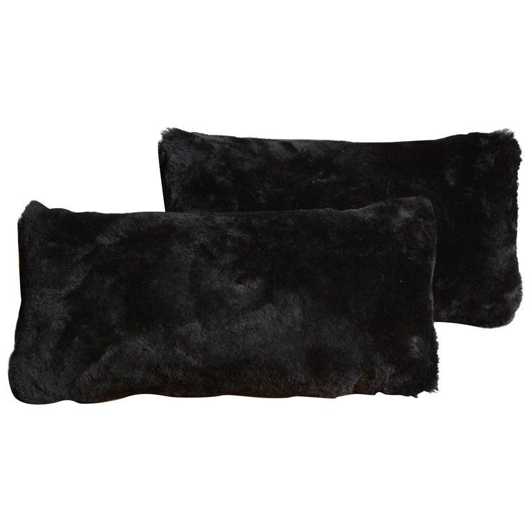 Black Shearling Pillows