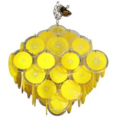 Vintage Murano Glass Yellow Disc Chandelier