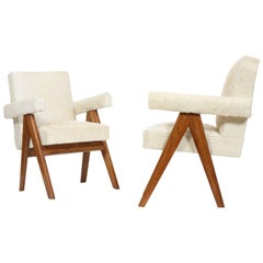 "Set of Two ""Senate-Committee Chairs"" White from Pierre Jeanneret"