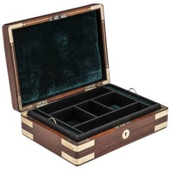 Solid Mahogany Antique Gents Jewelry Box 19th Century