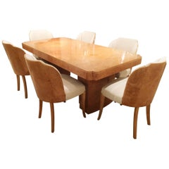 Original Art Deco Cloud Dining Table and Chairs by Epstein in Maple