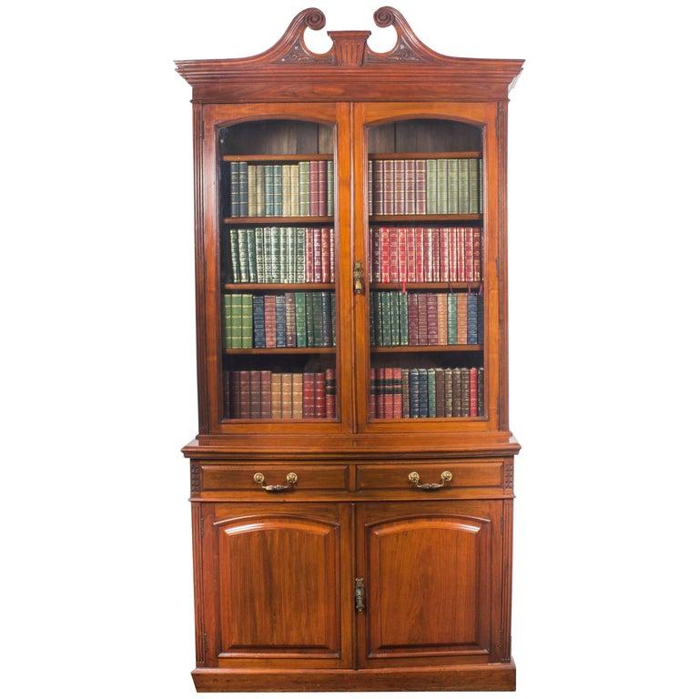 Antique Edwardian Figured Walnut Bookcase, 19th Century