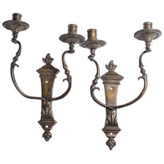 Antique Bronze Two-Light Wall Lights, 18th Century