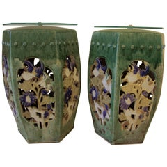 Garden Stools Pair of Green Chinese Side Tables Drink Tables